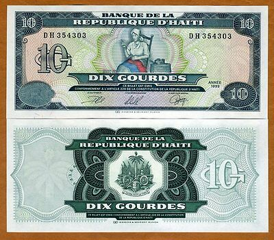 Haiti, 10 Gourdes, 1999, P-256, UNC > Catherine Flon sewing the first flag