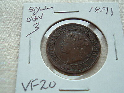 Victoria large cent 1891 SDLL  nice variety coin!