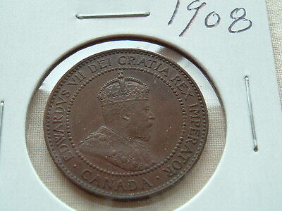 Collector Coin 1908 High Grade brown Edward large cent!