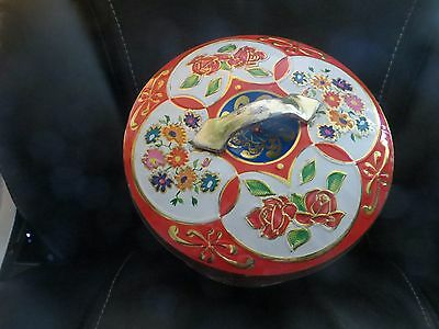 Vtg Gray Dunn Scotland Biscuits Embossed Coloured Flower Red Handled Tin