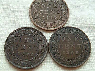 Three Victoria large cents 1859, 1882H and 1892  nice coins!