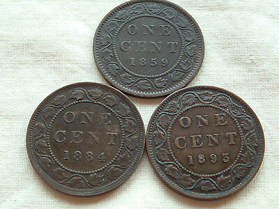 Three Victoria large cents 1859, 1884 and 1893  nice coins!