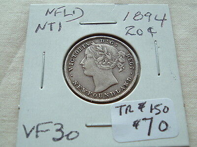 Newfoundland twenty cents 1894 Great coin! Lots of detail!
