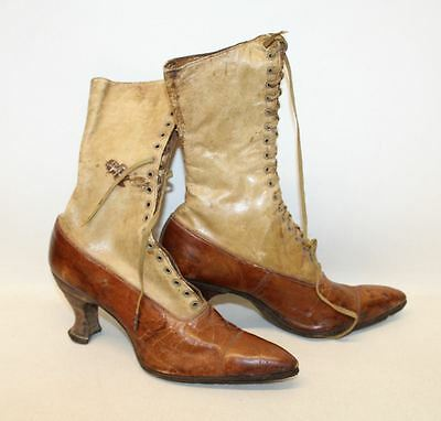 Ladies Brown & Beige Leather Vintage Mid Calf Lace Up Boots Approx. UK2-3