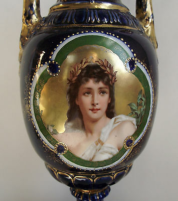 19th C Royal Vienna Style Portrait DAPHNE Painted Vase Urn Cobalt Gold Porcelain