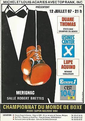 1987 LUPE AQUINO vs DUANE THOMAS WORLD TITLE PROGRAMME FROM FRANCE
