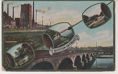 Burton-on-Trent. 1916 multi-view postcard. Fair condition. Written/posted
