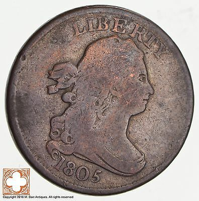 1805 Draped Bust Half Cent No Stems *2557