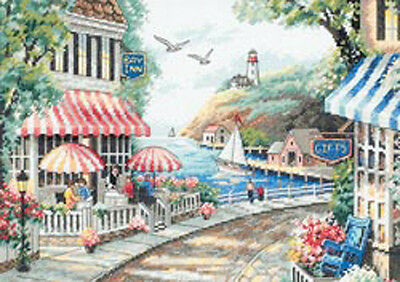 """Cafe By The Sea Counted Cross Stitch Kit-14""""X10"""""""