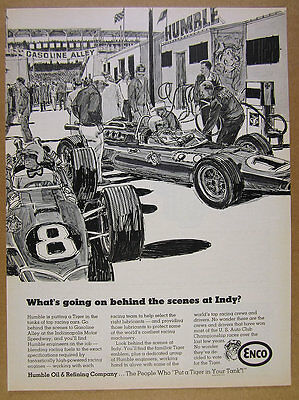 1968 Humble Oil Enco gasoline alley indy 500 race cars art vintage print Ad