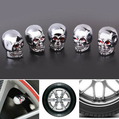 5X Red Eyes Evil Skull Tyre Tire Air Valve Stem Dust Caps For Car Bike Truck