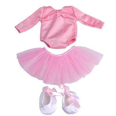"Clothes Ballet Dress Skirt Outfit with Shoes fit for 18"" American Girl Doll"