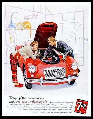 1960 MG MGA red car young couple photo 7Up 7-Up soda vintage print ad