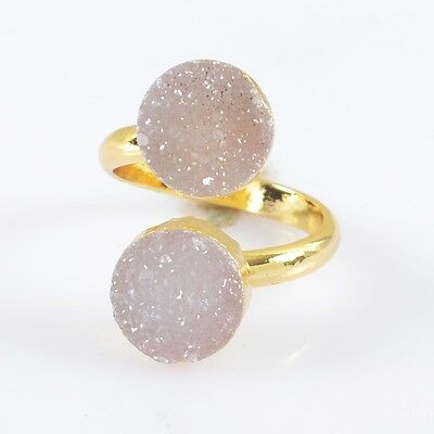 Size 5.75 Natural Agate Druzy Geode Adjustable Ring Gold Plated H83097