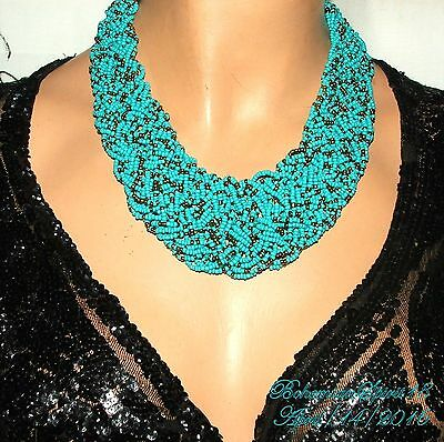 Vintage Style Tribal Awesome Braided Turquoise Glass Beads Necklace