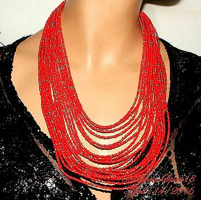 Vintage Style Tribal Awesome Red Coral Glass Beads Multi Strand Necklace