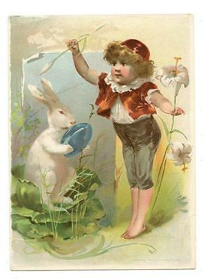 #4 LION COFFEE WOOLSON SPICE Easter Greetings LARGE antique victorian TRADE CARD