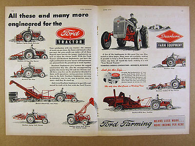 1949 Ford Farm Tractor & Dearborn Implements harrow plow combine art vintage Ad