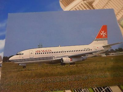 Air Malta Boeing 737-200 {9H-ABE} printed in France unused postcard