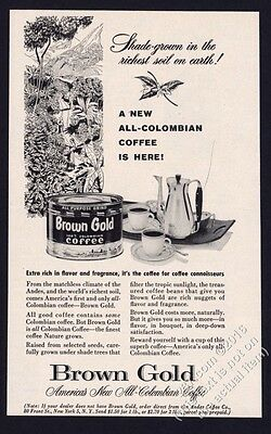 1955 Brown Gold Colombian Coffee can photo jungle art vintage print ad