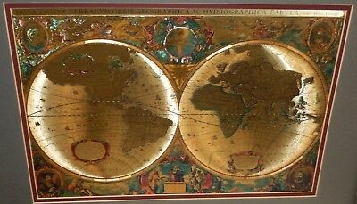 Henr Hondio Nova Totivs Terrarvm Orbis Geographica Gold Foil Map Of The World