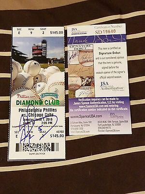Albert Almora Signed Mlb Debut Game Season Ticket Stub-Cubs Jsa Rookie Graph Coa