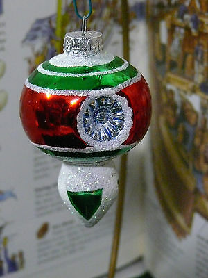 Vintage Set Of 12 Double Indent Teardrop Glass Christmas Tree Ornaments Mica