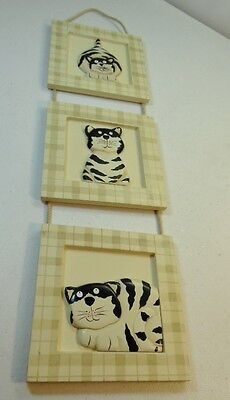 3 Tiered Framed Black and White Fat Cats Connected by Rope Funny