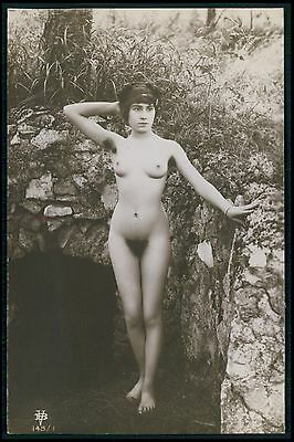 French ? full nude woman dark cave hole original c1910-1920s photo postcard