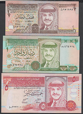 Jordan,1/2,1,5 Dinars bank Note Set,1992,UNC Condition.
