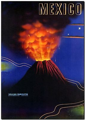 """Vintage Illustrated Travel Poster CANVAS PRINT ~ Mexico Volcano Eruption 18""""x12"""""""