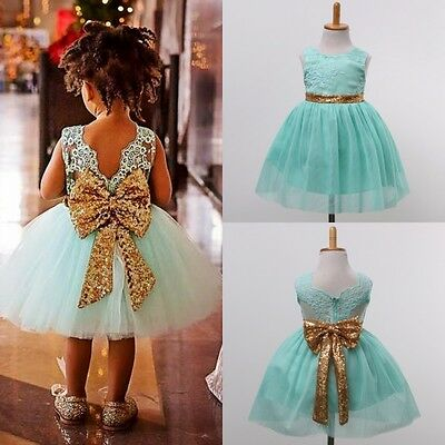 Flower Girl Kids Toddler Sequins Princess Party Wedding Formal Tutu Dress USA