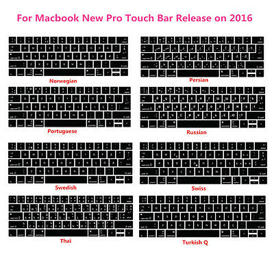 Foreign Language Silicone Keyboard Cover  Skin For Macbook  Pro 13 15 Touch Bar
