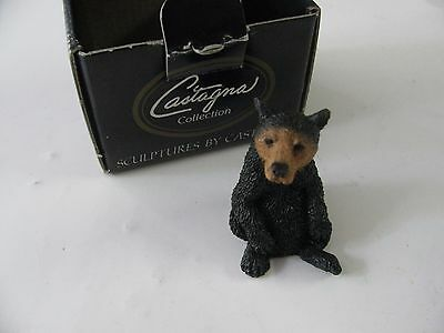 "1992 Castagna 3"" Black Bear Figure Sculpture With Box Made In Italy  #0390"