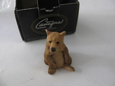 "1992 Castagna 3"" Brown Bear Figure Sculpture With Box Made In Italy  #0390"