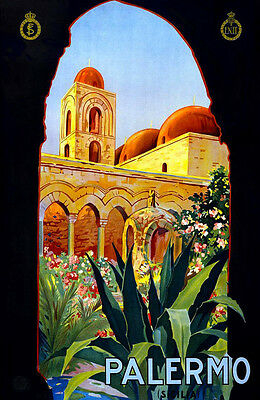 """Vintage Illustrated Travel Poster CANVAS PRINT ~Palmero Italy 18""""x12"""""""