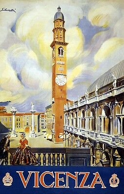"""Vintage Illustrated Travel Poster CANVAS PRINT ~ Vicenza Italy 18""""x12"""""""