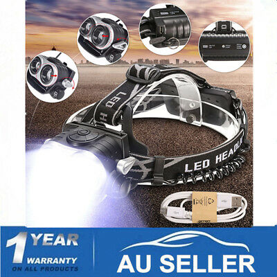 Elfeland 50000Lm Rechargeable Headlamp 2xT6 LED Headlight Head Torch+ USB 18650