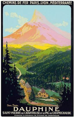 """Vintage Illustrated Travel Poster CANVAS PRINT ~ Dauphine Europe 18""""x12"""""""