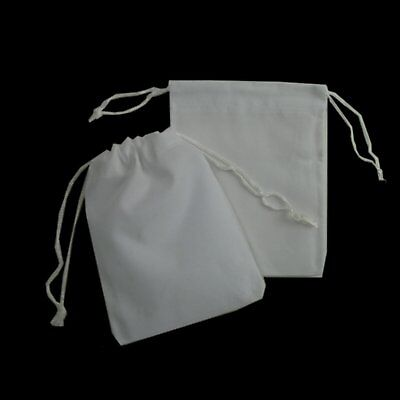 50x Wedding Velvet Bomboniere Bags Square Jewellery Gift Drawstring White 5x7 cm