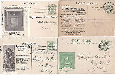 1906/09 4 Diff London Advertising Cards (3 Perfin) O'brien To Ledbury Brewery
