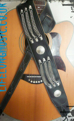 Concho western country rock metal black leather style guitar strap ! XMAS GIFT !