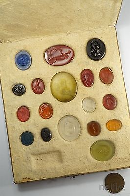 COLLECTION of ANTIQUE GLASS CLASSICAL TASSIE SEALS in ORIGINAL BOX c1780