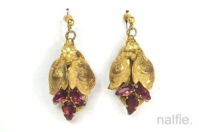 ANTIQUE ENGLISH VICTORIAN PERIOD PINCHBECK GARNET PASTE EARRINGS c1880