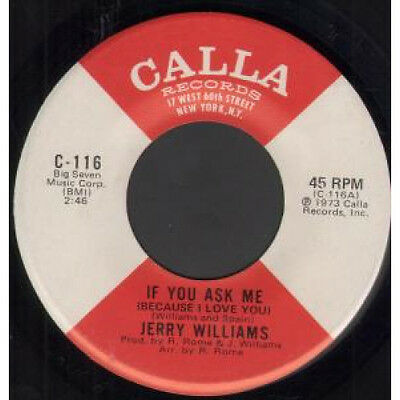 "JERRY WILLIAMS If You Ask Me 7"" VINYL B/w Yvonne (c116) Bell Sound Stamped Bot"