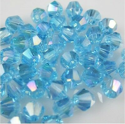 NEW 100pcs 4mm Glass Crystal #5301 Bicone beads lake blue AB colors for Jewelry