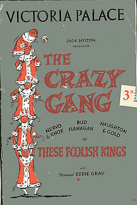 1960s Theatre programme THE CRAZY GANG THESE FOOLISH KINGS Bud Flanagan
