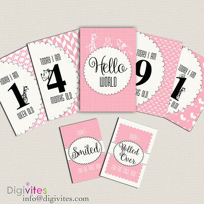 Baby Milestone Cards, Baby Moments and Milestones, Animals, Announcements Pink