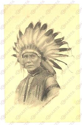 1914 NATIVE AMERICANS An indian Chief - Postcard ILLUSTRATED Schlesinger Bros