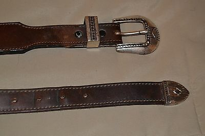 """""""Dos Amigos"""" Vintage Brown Western Beaded Leather Belt-Silver-Tone Buckle - 38"""